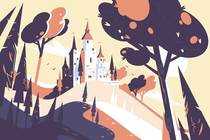 Vieja situación del castillo del cuento de hadas en paisaje de la colina stock de ilustración