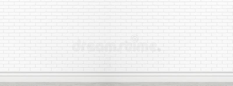 Vieja textura blanca de la pared de ladrillo para el uso del fondo como maqueta del diseño de la bandera de la pantalla ancha del fotos de archivo libres de regalías