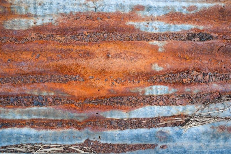 Vieja textura corrigated oxidada del fondo del hierro fotografía de archivo libre de regalías