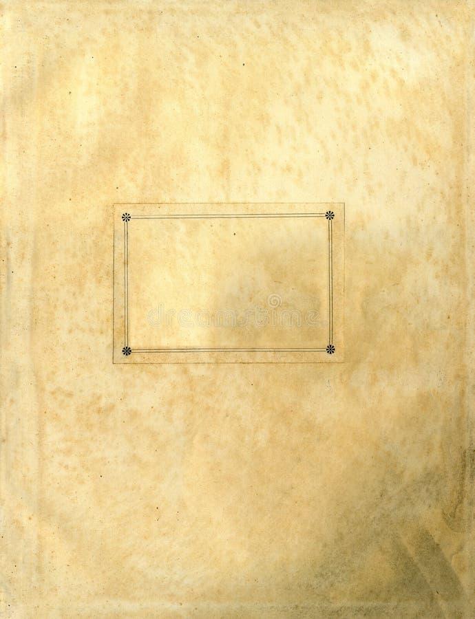 Vieja textura de papel áspera con la escritura de la etiqueta clara stock de ilustración
