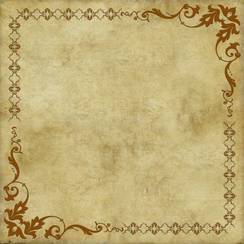 Vieja textura de papel del vintage con el marco floral de los elementos ilustración del vector