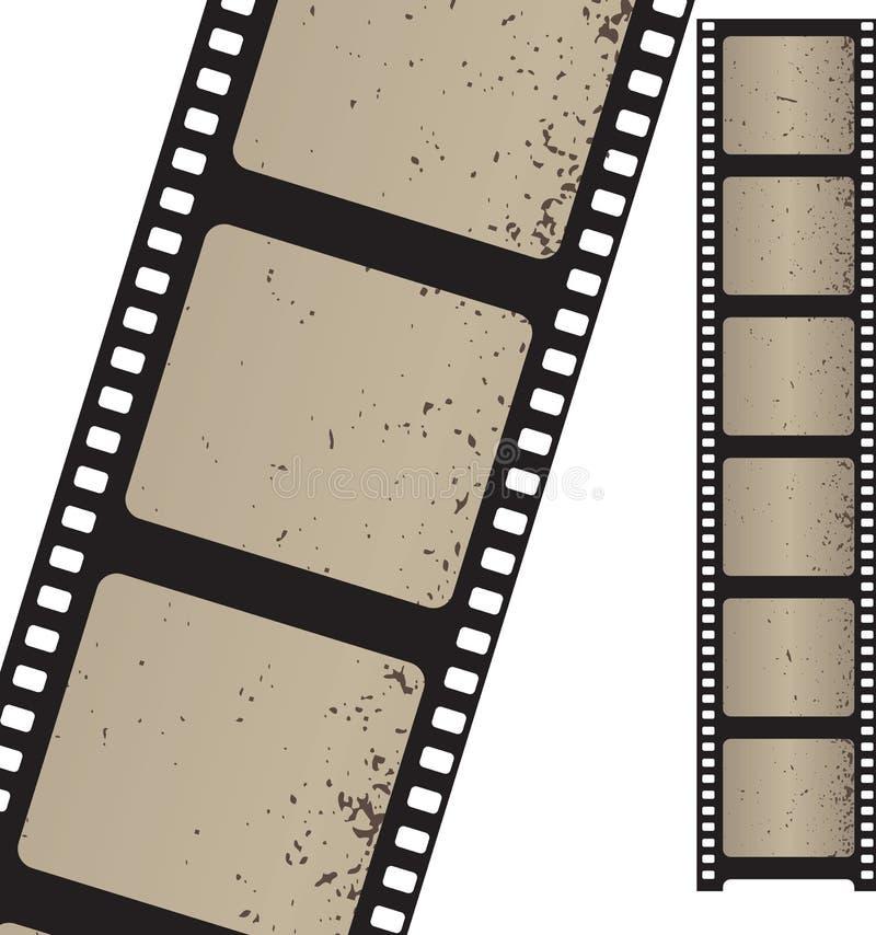 Vieja tira de la película negativa stock de ilustración