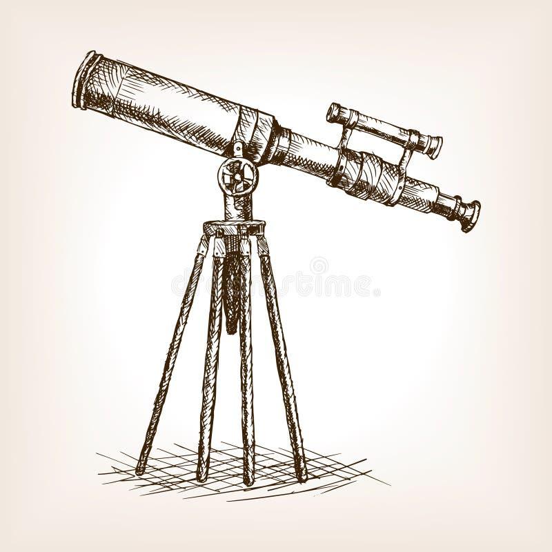 Vieja vector dibujado del bosquejo del telescopio mano libre illustration