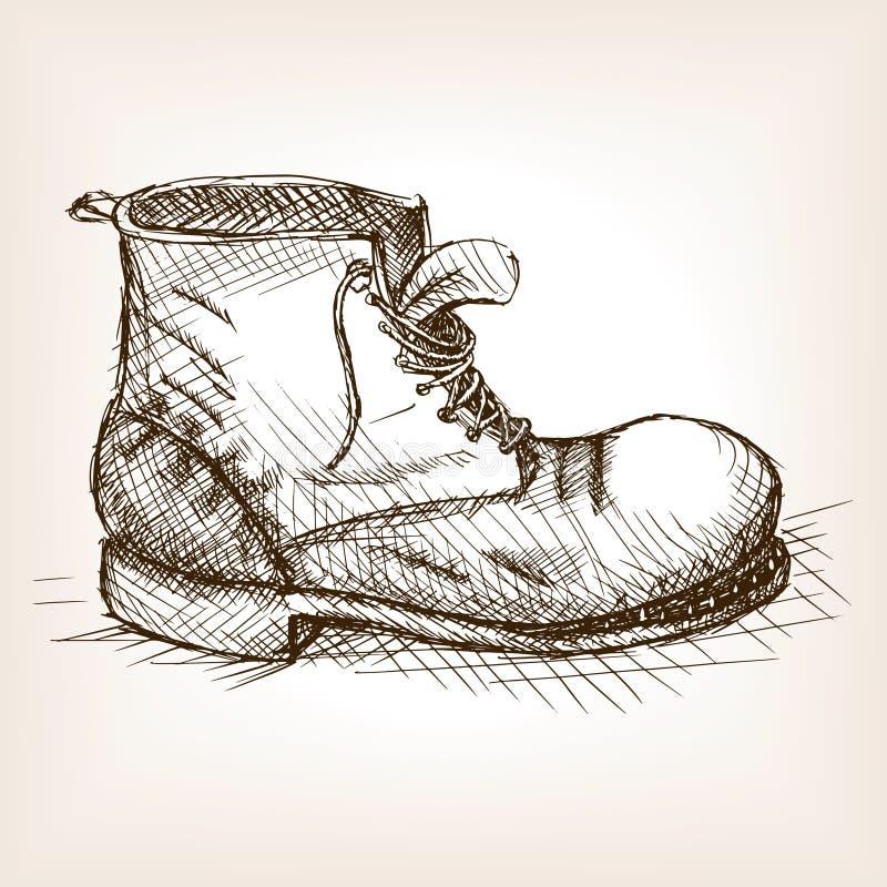 Vieja vector dibujado del estilo del bosquejo de la bota mano libre illustration