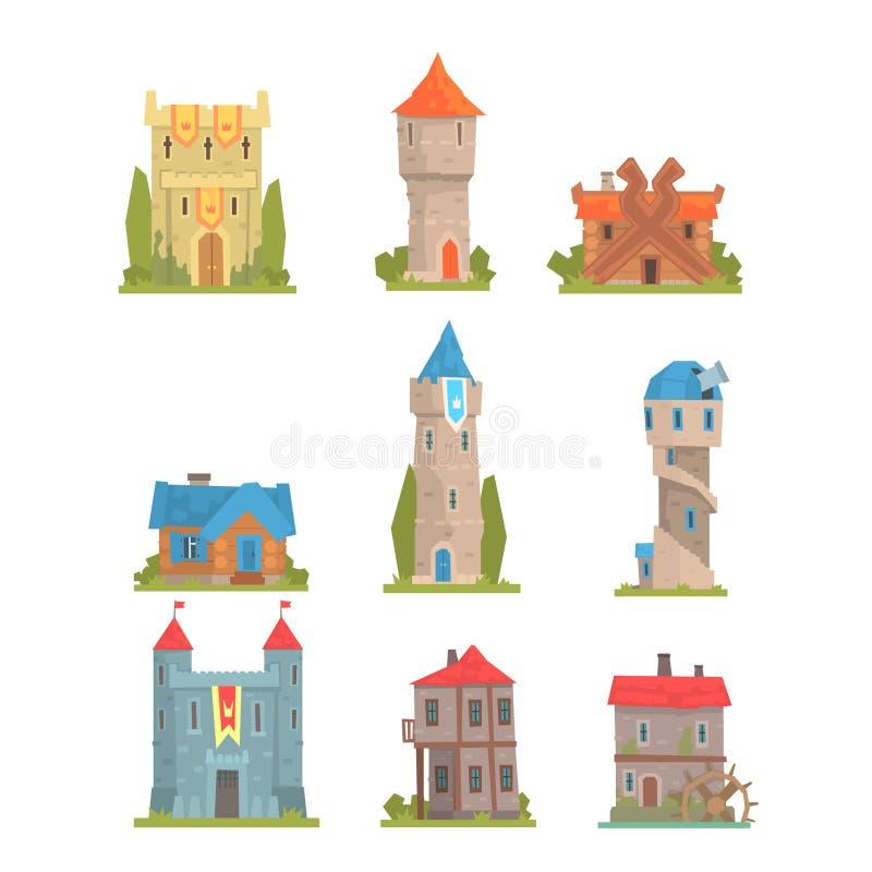 Vieja y medieval colección histórica de los edificios de torres de la arquitectura, de fortalecimientos y de casas europeos de la libre illustration