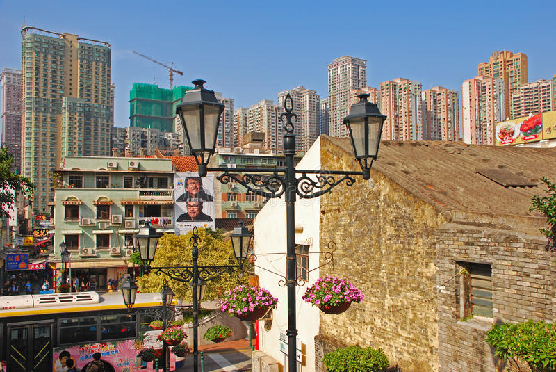 Vieja y nueva área en Macao imagen de archivo libre de regalías
