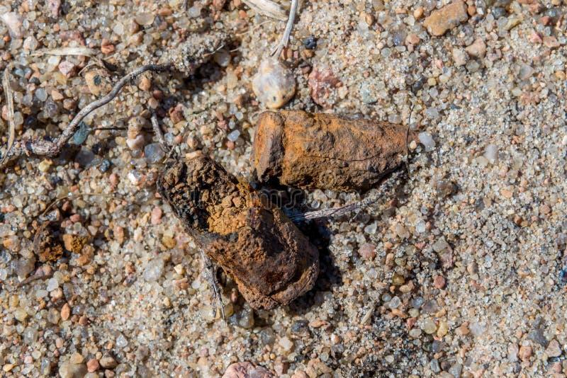 Viejas c?scaras oxidadas del subfusil ametrallador en la arena en el territorio de la radio de tiro anterior en Kronstadt foto de archivo libre de regalías
