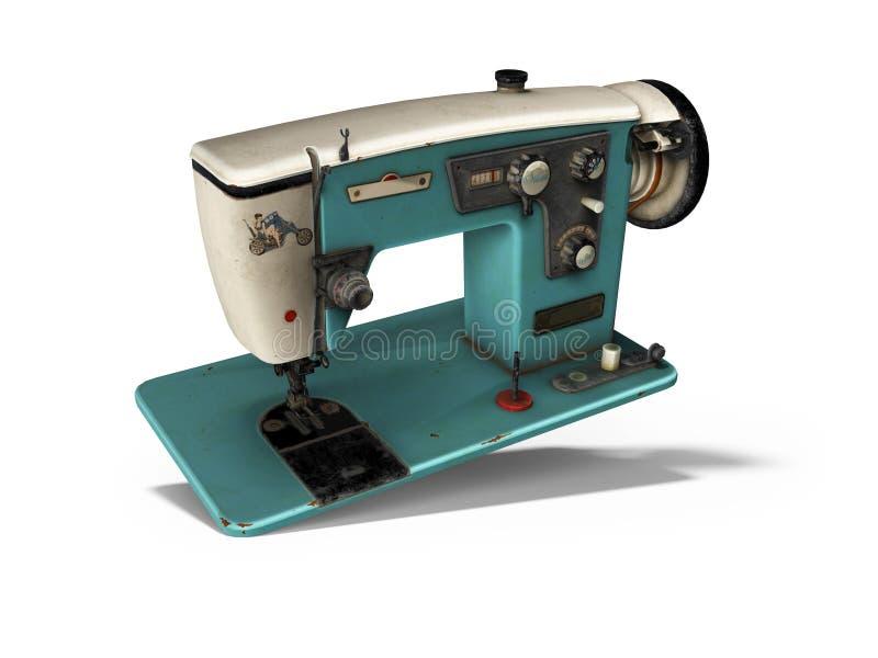 Viejas caídas eléctricas azules de la máquina de coser en el piso 3d rendir en el fondo blanco con la sombra libre illustration