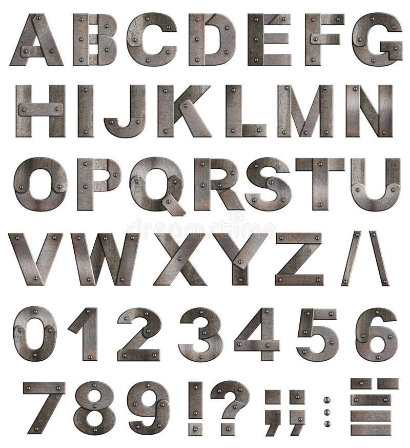 viejas cartas del alfabeto del metal, dígitos, puntuación stock de ilustración