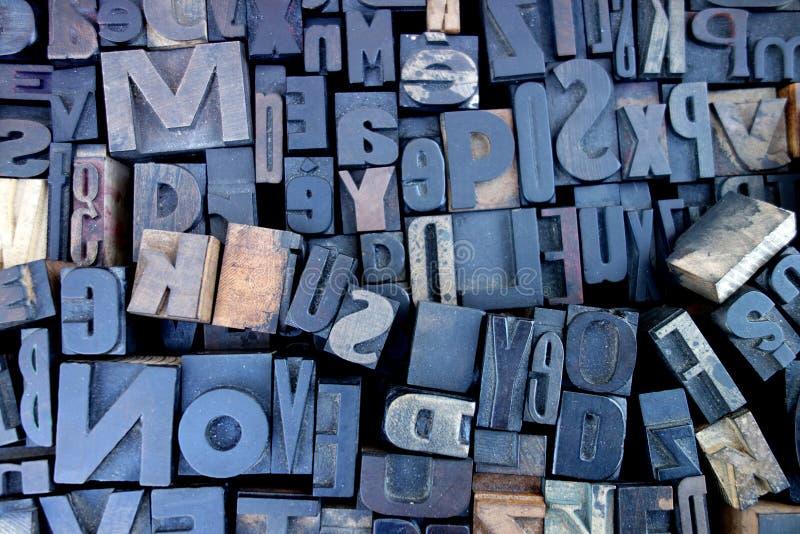 Viejas letras de molde de madera de la prensa fotos de archivo libres de regalías