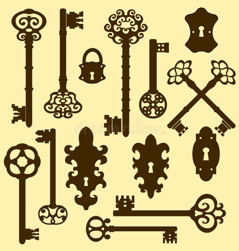 Viejas llaves fijadas en estilo retro stock de ilustración