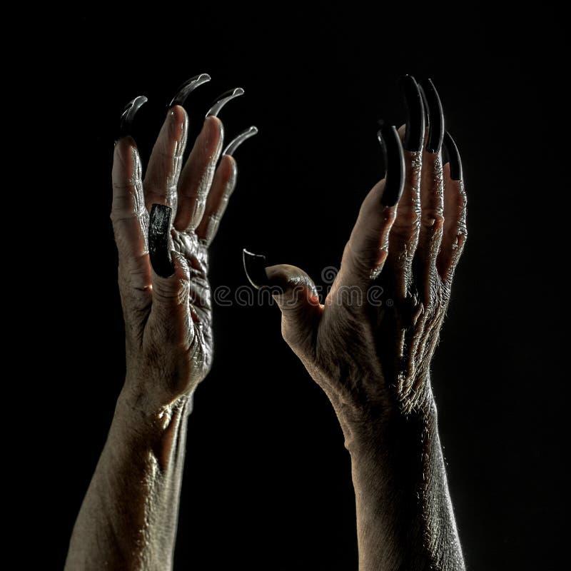 Viejas manos femeninas con los clavos largos imagen de archivo libre de regalías
