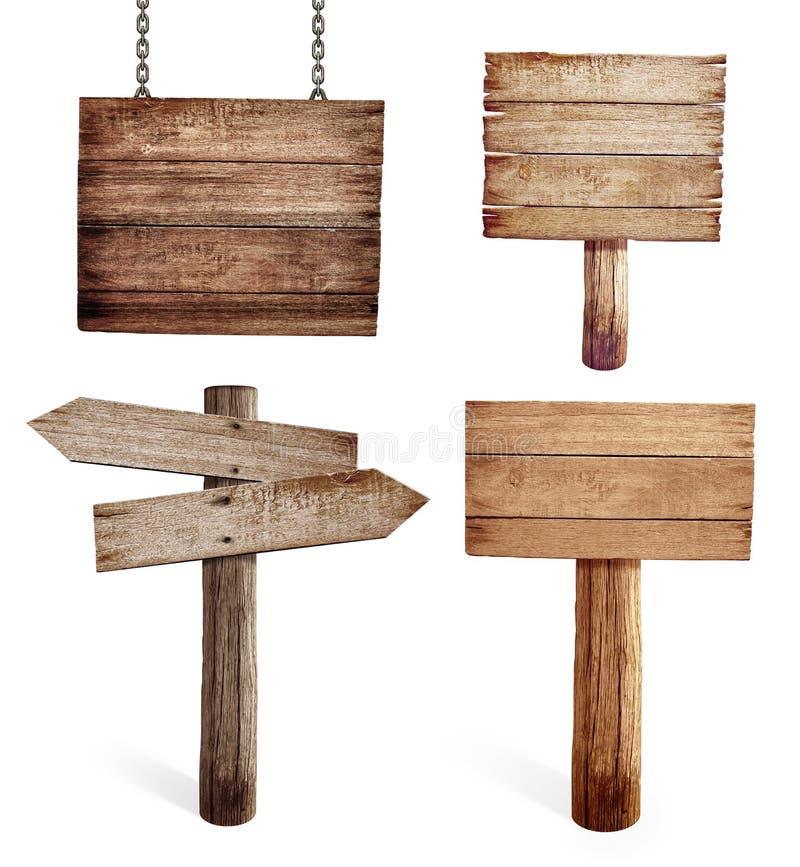 Viejas señales de tráfico de madera fijadas aisladas fotografía de archivo