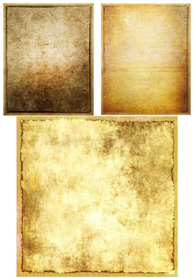 Viejas texturas del papel del grunge fijadas foto de archivo libre de regalías