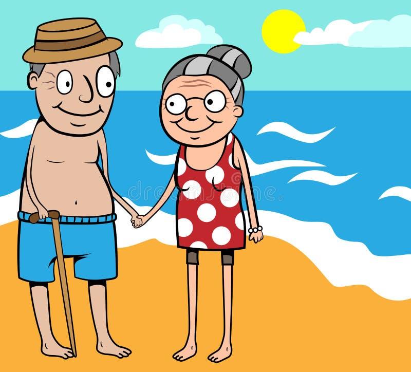 Viejas vacaciones de verano felices de los pares por el mar stock de ilustración