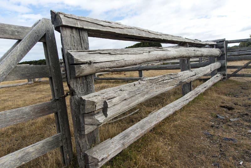 Viejas yardas del ganado de los carriles y de las puertas foto de archivo libre de regalías