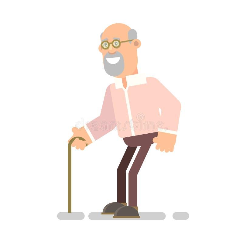 Viejo abuelo con una vara ilustración del vector