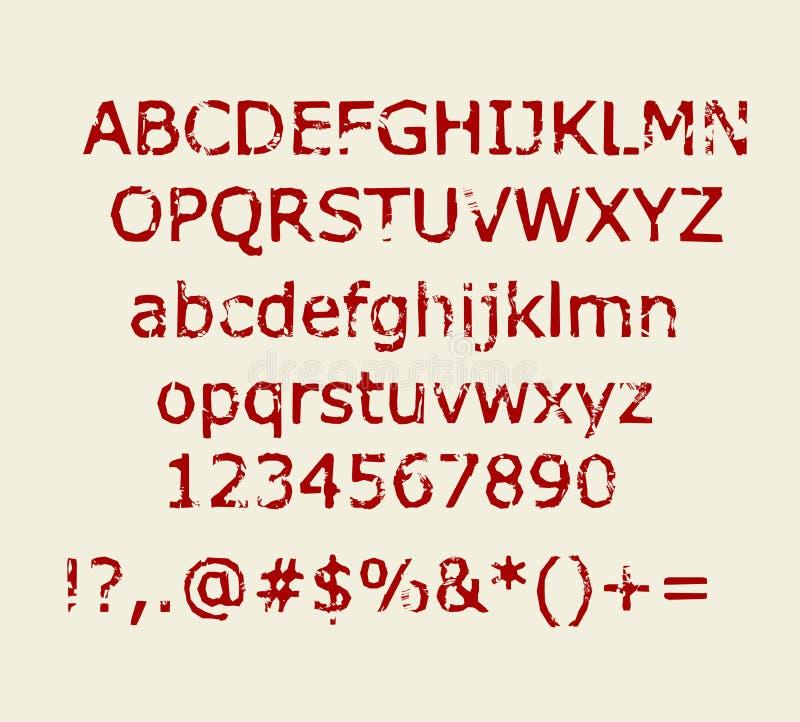 Viejo alfabeto retro rojo marrón del estilo del sello de goma con números y vector de las muestras stock de ilustración