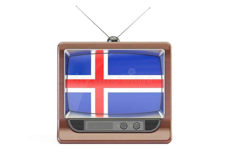 Viejo aparato de TV con la bandera de Islandia Concepto islandés de la televisión, 3 ilustración del vector