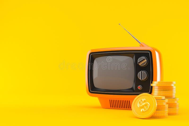 Viejo aparato de TV con la pila de monedas stock de ilustración