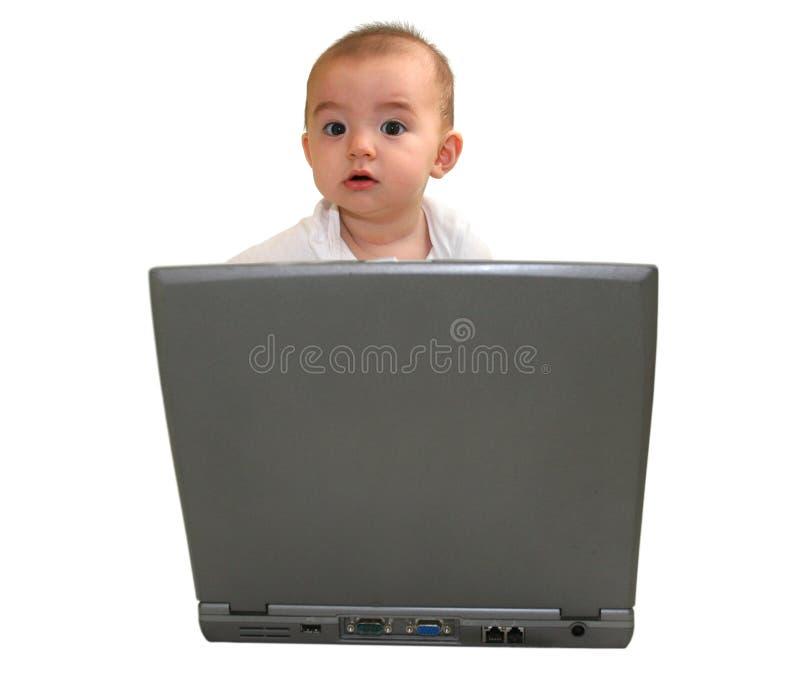 Viejo bebé curioso de 7 meses imagen de archivo
