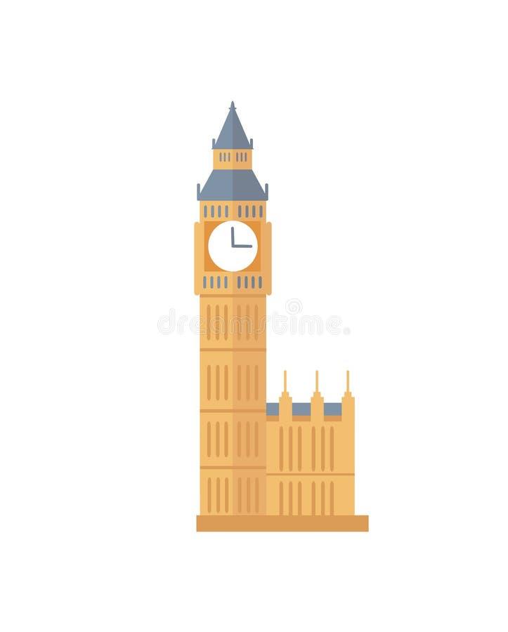 Viejo Ben Tower grande famoso con el reloj de Inglaterra stock de ilustración