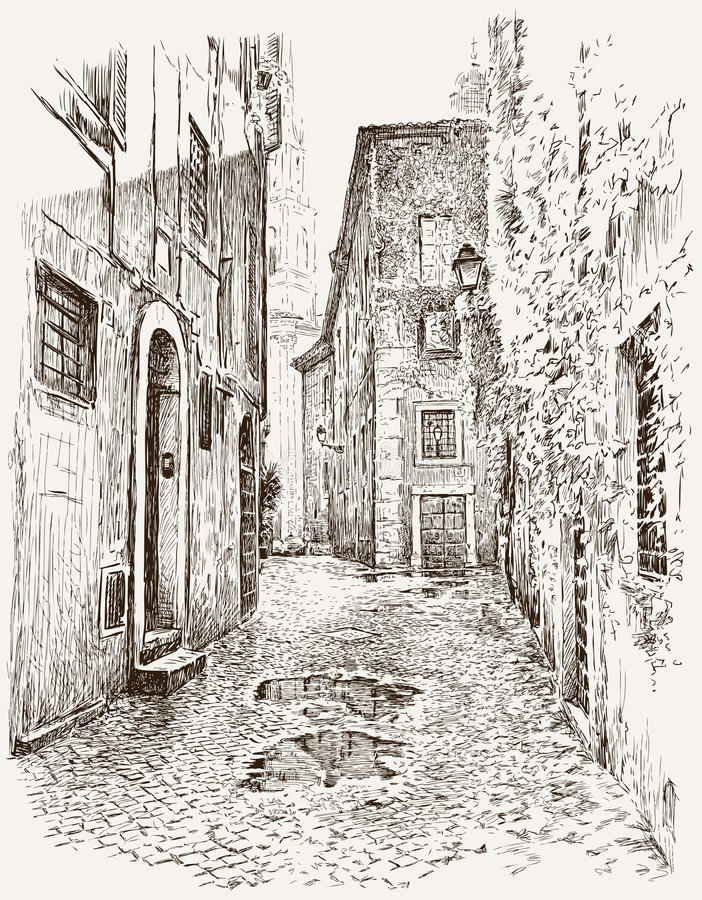 Viejo bosquejo de la ciudad ilustración del vector