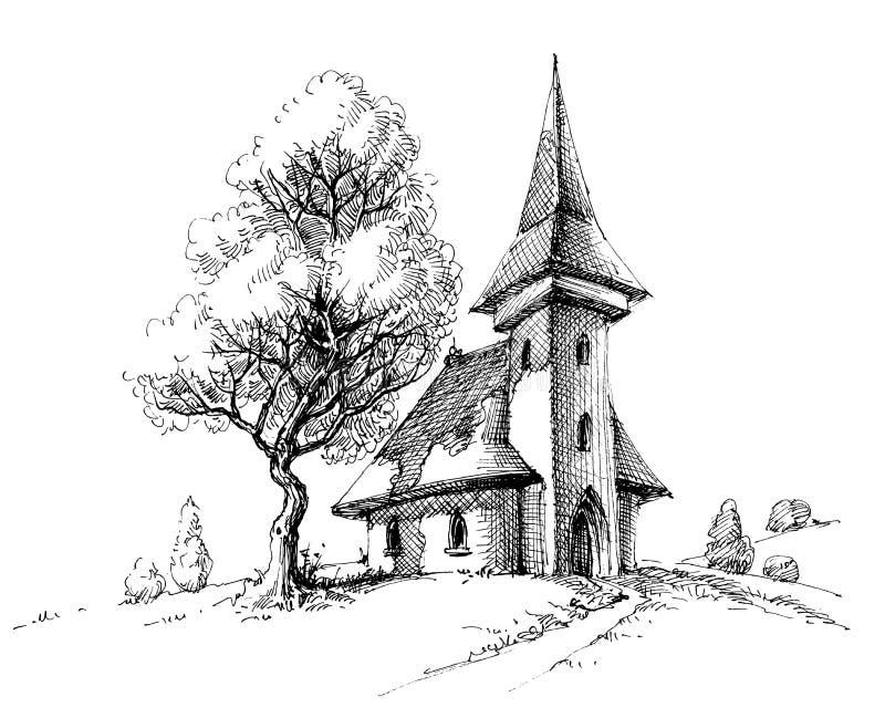Viejo bosquejo de la iglesia libre illustration