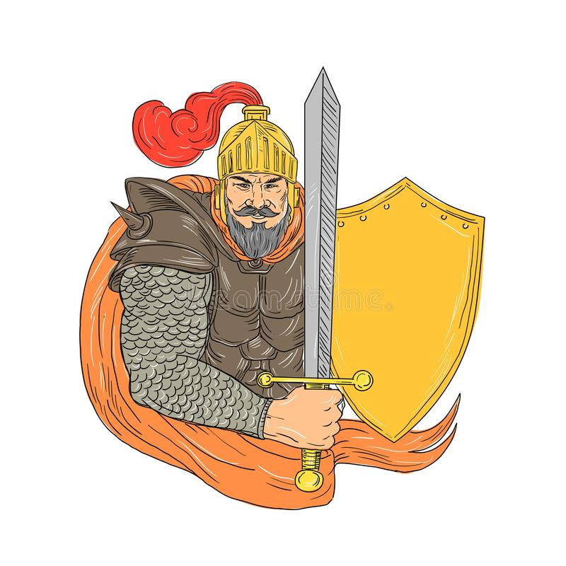 Viejo caballero Sword Shield Drawing ilustración del vector