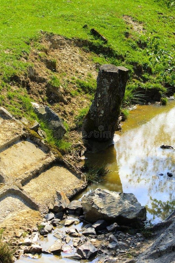 Viejo canal deformado y dilapidado con agua sucia, el conce imagen de archivo libre de regalías