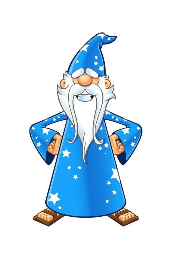 Viejo carácter azul del mago stock de ilustración