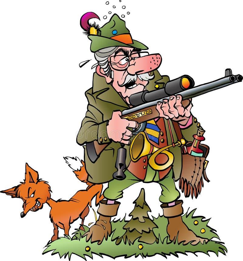 Viejo cazador absurdo stock de ilustración