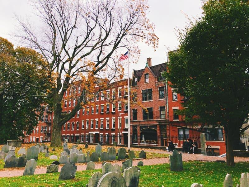 Viejo cementerio del granero en Boston fotos de archivo