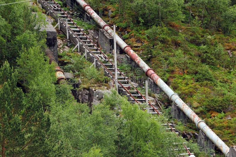 Viejo central hidroeléctrica de Florli en Florli, Noruega foto de archivo libre de regalías