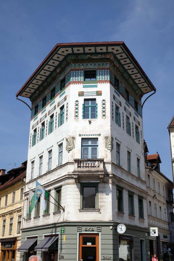 Viejo centro de ciudad medieval romántico Ljubljana, Eslovenia fotografía de archivo