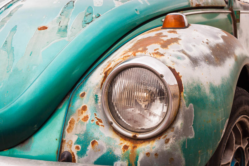 Viejo cierre del tope del coche del vintage para arriba Automóvil retro fotografía de archivo