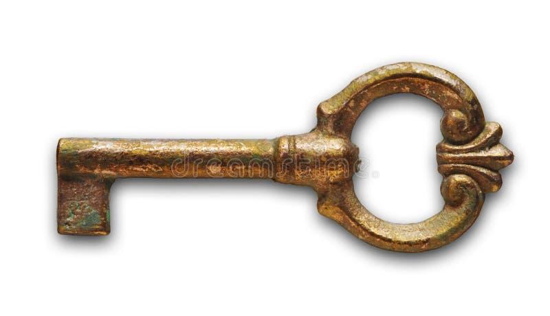 Viejo clave en blanco foto de archivo