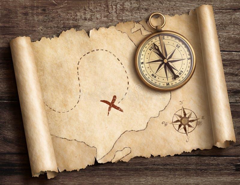 Viejo compás náutico de cobre amarillo en la tabla con el ejemplo del mapa 3d del tesoro libre illustration