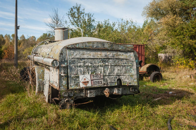 Viejo complejo militar del camión Chernobyl-2 foto de archivo