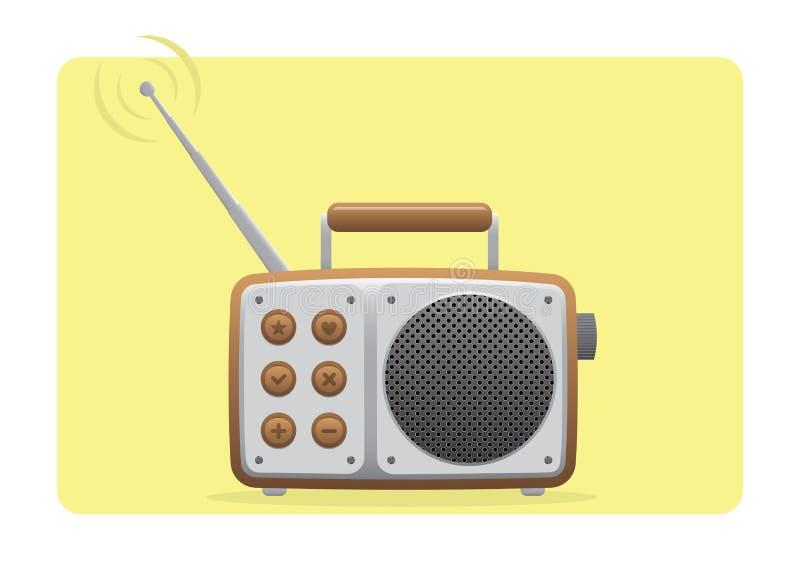 Viejo conjunto de recepción de radio ilustración del vector