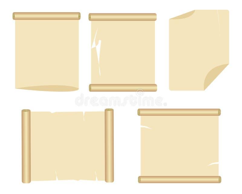 Viejo conjunto del papel stock de ilustración
