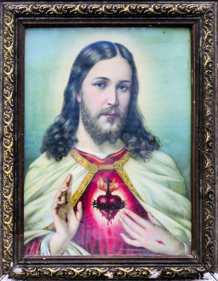 Viejo Cuadro Del Color De Jesús Imagen de archivo - Imagen de nadie ...