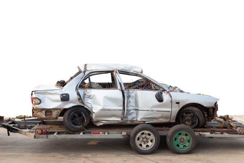 Viejo desplome del accidente de tráfico en el remolque del coche foto de archivo libre de regalías