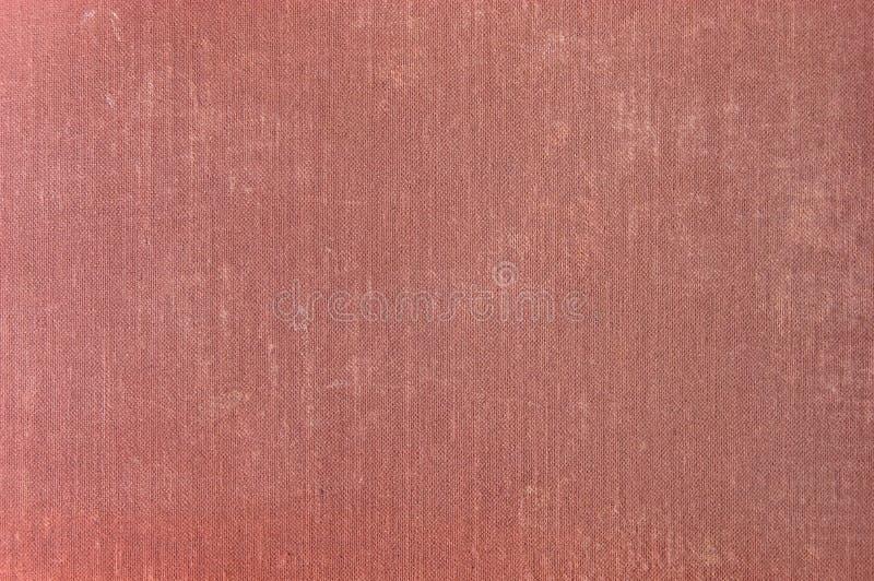 Viejo detalle de lino envejecido de la textura de la tela del Grunge rojo profundo del clarete, primer horizontal llevado texturi imagen de archivo libre de regalías