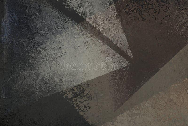 Viejo diseño negro apenado del fondo con textura descolorada del grunge en formas abstractas del triángulo de blanco y de gris ilustración del vector