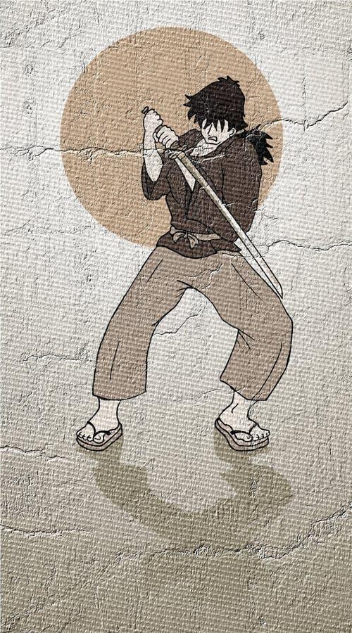 Viejo drenaje del samurai ilustración del vector