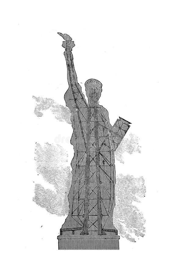 Viejo ejemplo americano de la opinión aérea de Nueva York viejo Ejemplo del grabado ilustración del vector