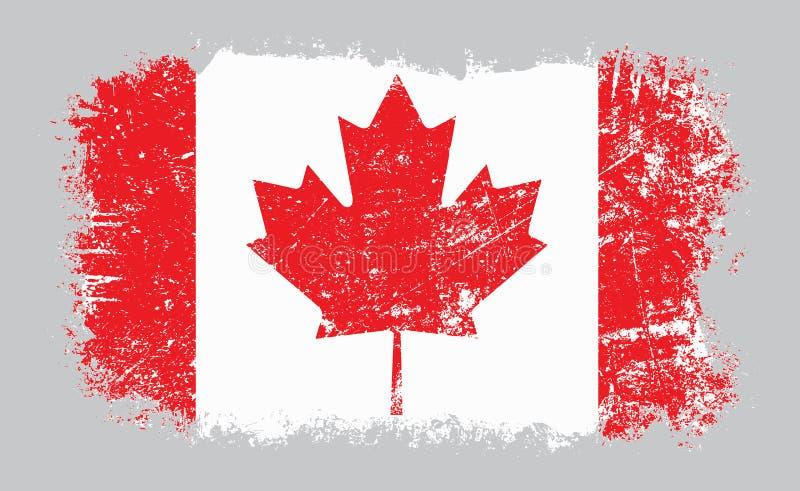 Viejo ejemplo canadiense del vector de la bandera del Grunge ilustración del vector