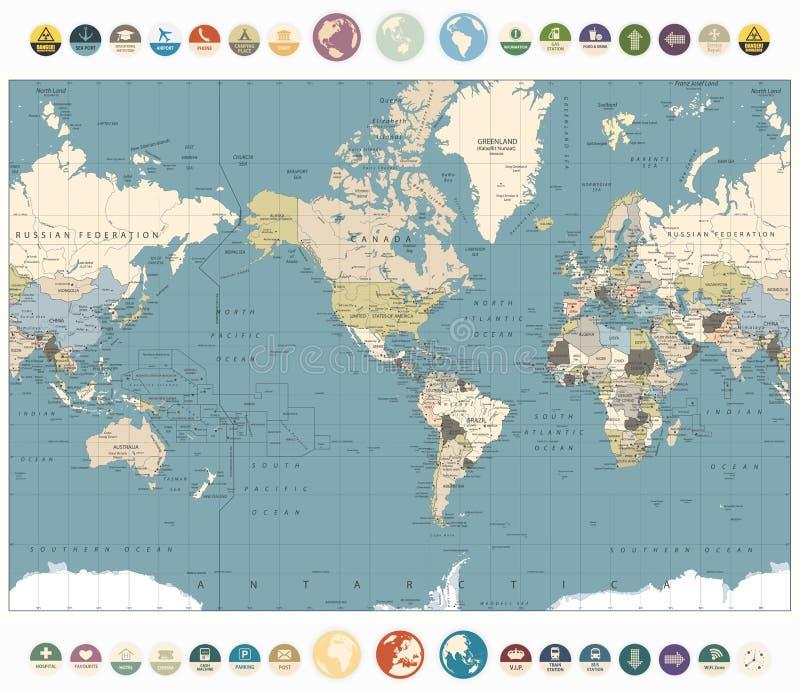 Viejo ejemplo de colores del mapa del mundo con los iconos y el glob planos redondos stock de ilustración