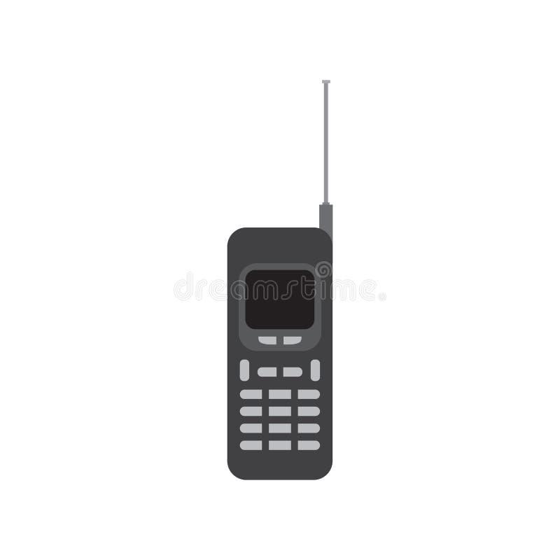 Viejo ejemplo del diseño del vector del icono del negro del teléfono móvil libre illustration
